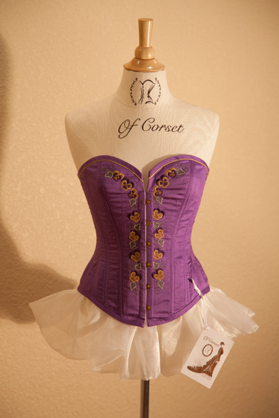 Purple Silk Pansey Corset